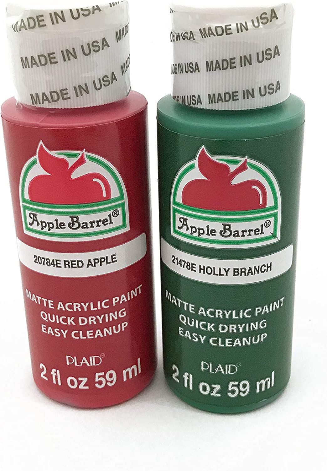 Apple Barrel Acrylic Paint Classic Christmas Set - Red Apple and Holly Branch Green (2 Ounces Each)