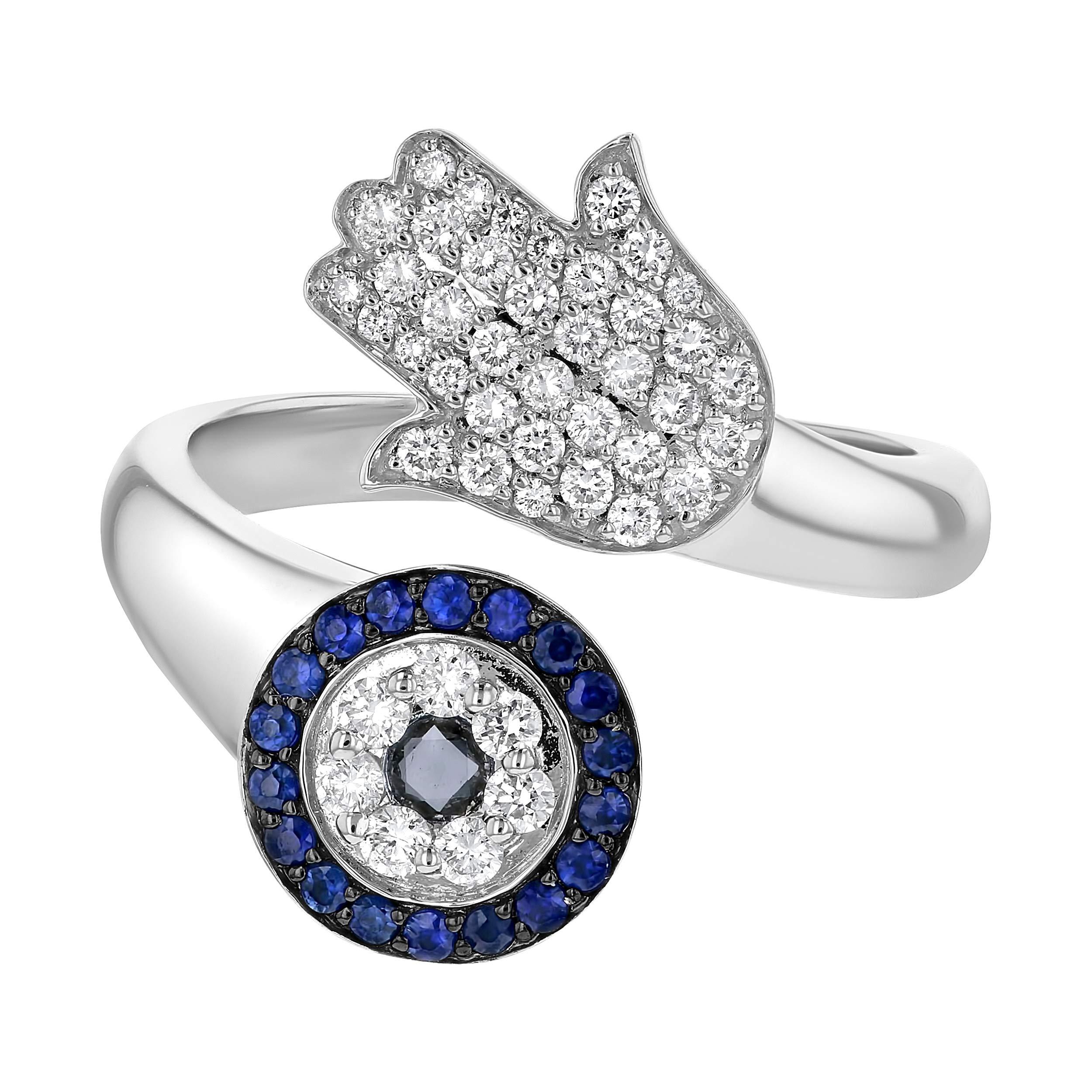 Olivia Paris 14k White Gold Diamond and Blue Sapphire Hamsa Bypass Cocktail Ring (3/8 cttw, H-I, I1) (6) by Olivia Paris