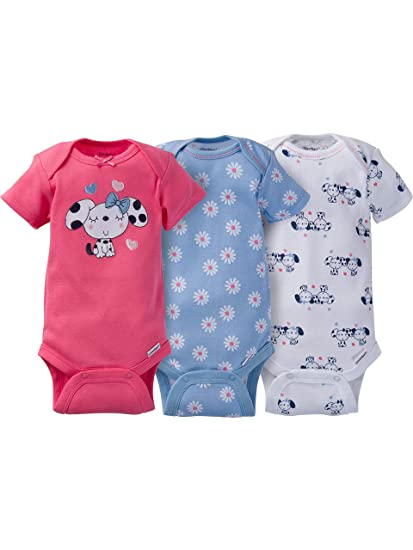 c0dd37782 Amazon.com  Gerber Girls 3-pack Onesies Brand Short Sleeve Bodysuits ...