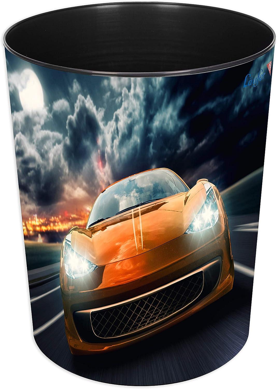 L/äufer 26668 13 litri in plastica resistente rotondo Cestino per la carta con motivo auto da corsa