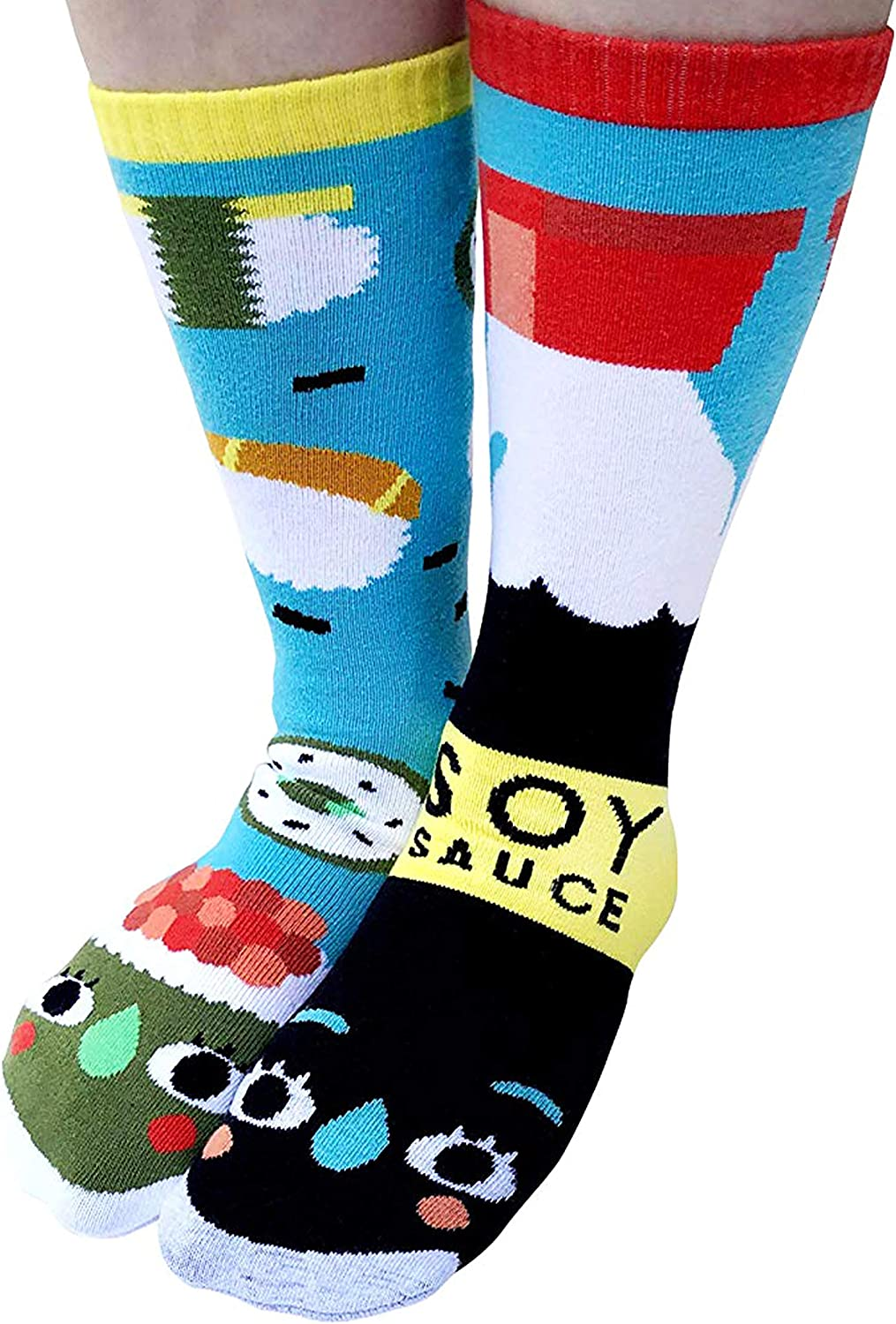 Sushi & Soy Sauce Funny Collectible Mismatched Food Friends Mens Womens Kawaii Artist Style Cotton Crew Socks