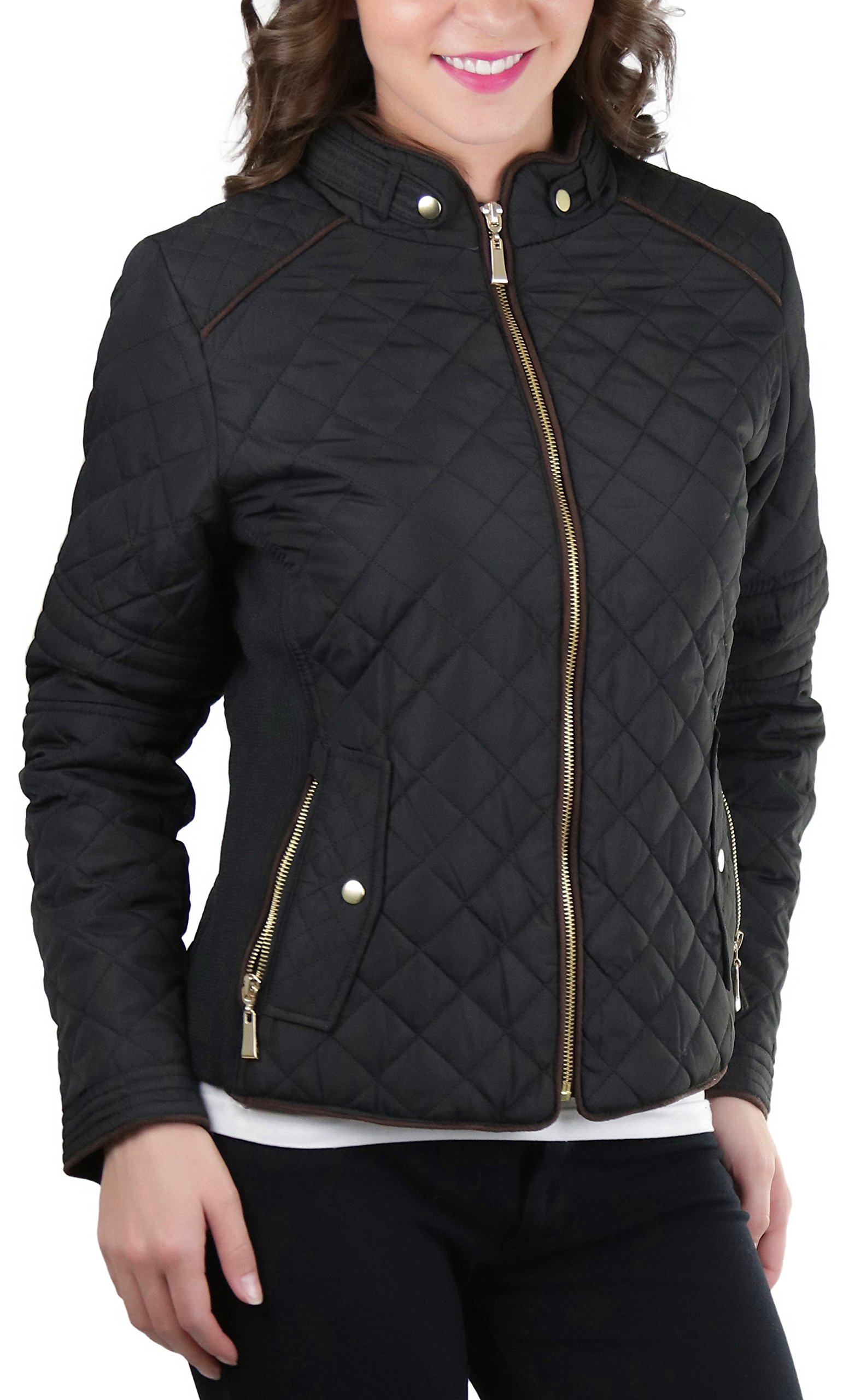 ToBeInStyle Women's Quilted Padded Jacket Suede Piping - Black - Small