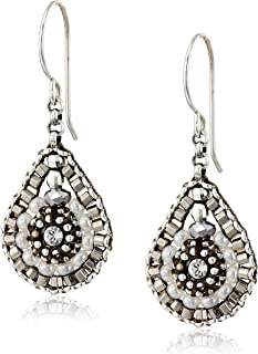 product image for Miguel Ases Pyrite Bead and Sterling Silver Mini Teardrop Earrings