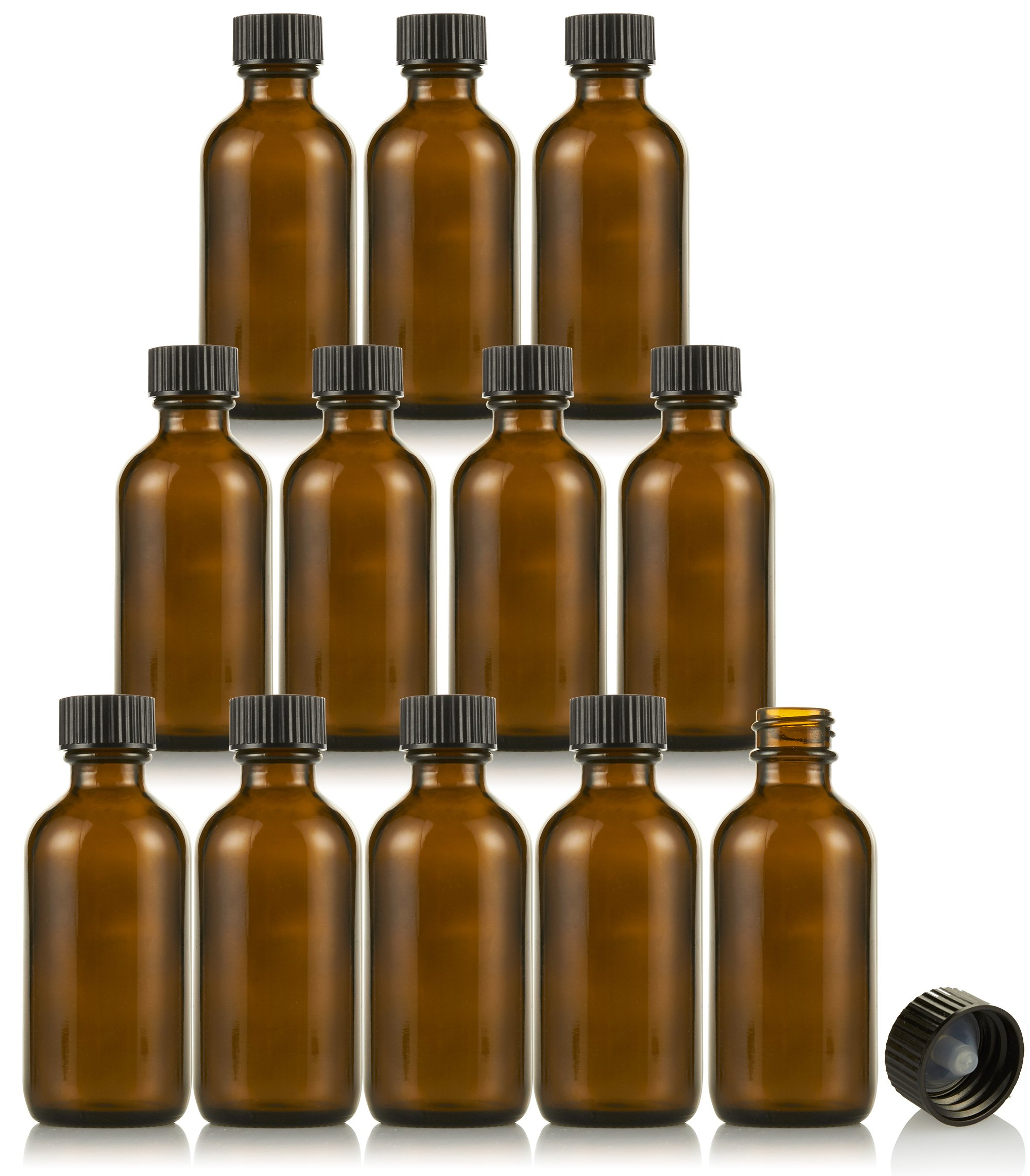 Amber Glass Bottles - 12-Pack Boston Round Bottles with Black Poly Cone Cap for Tight Seal - Refillable Glass Bottles for Essential Oils, Extracts and More - Perfect for Light Sensitive Liquids - 2 oz
