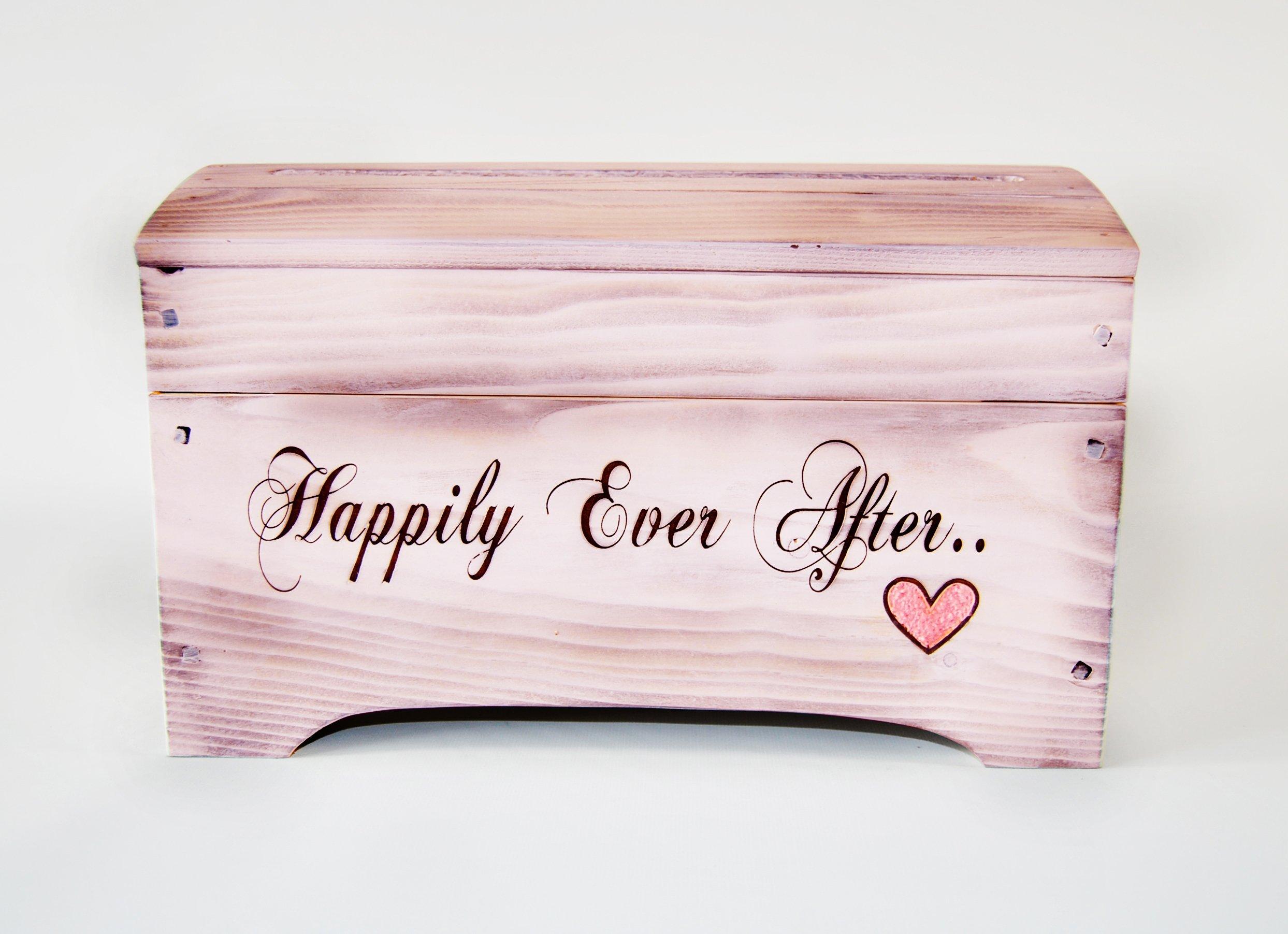 Medium Wooden Pink Keepsake Memory Box with heart- Wedding Card Box