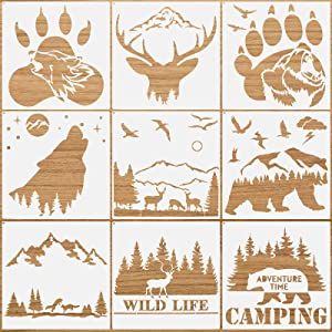 9 Pieces Forest Bear Claw Stencil Kit Deer Wolf Pattern Stencil Jungle Mountain Mylar Template Stencils Reusable Animal Painting Stencil with Metal Open Ring for Painting on Wood Wall Home Decor