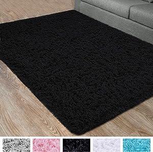DETUM Soft Bedroom Area Rugs, Fluffy Fur Rug for Living Room Kids Room Nursery Room Mat, Shaggy Plush Carpet for Indoor Floor, Modern Home Decor, 4 x 6 Feet, Black