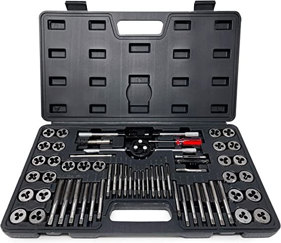 110 Piece Tap and Die Set,Alloy Steel Tap /& Die Set,55/° 60/° Metric Tools with Carrying Case,Precision Metric Tool Tap /& Die Combination Set for Cutting External and Internal Threads