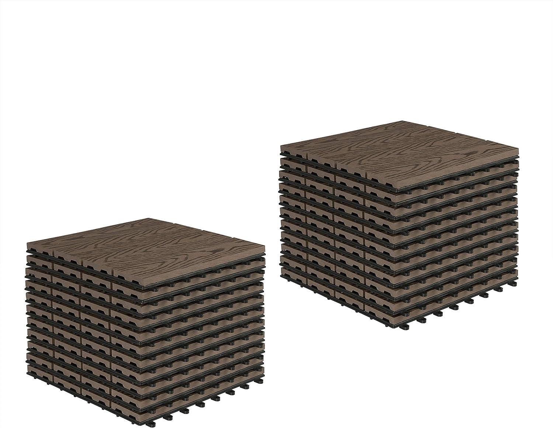 EUGAD 22x Suelo de Exterior WPC 30x30cm Terrazas del Piso 22 Set 2 Terraza Antracita Baldosas de Madera para Jardin