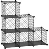 SONGMICS Interlocking Storage Rack, Metal Wire Mesh Cube Shelf, 6 Cube for Books, Shoes, Clothes, Ideal for Garage, Cellar, Office, Wardrobe, Stable, 36.6 L x 12.2 W x 36.6 H Inches Gray ULPX111GY