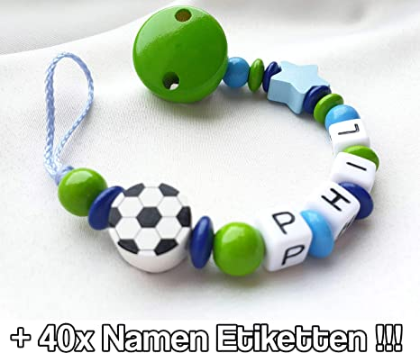 Cadena para chupete con nombre de CCW© para niños: pequeña estrella de fútbol, verde azul + 40 etiquetas con nombre: Amazon.es: Bebé