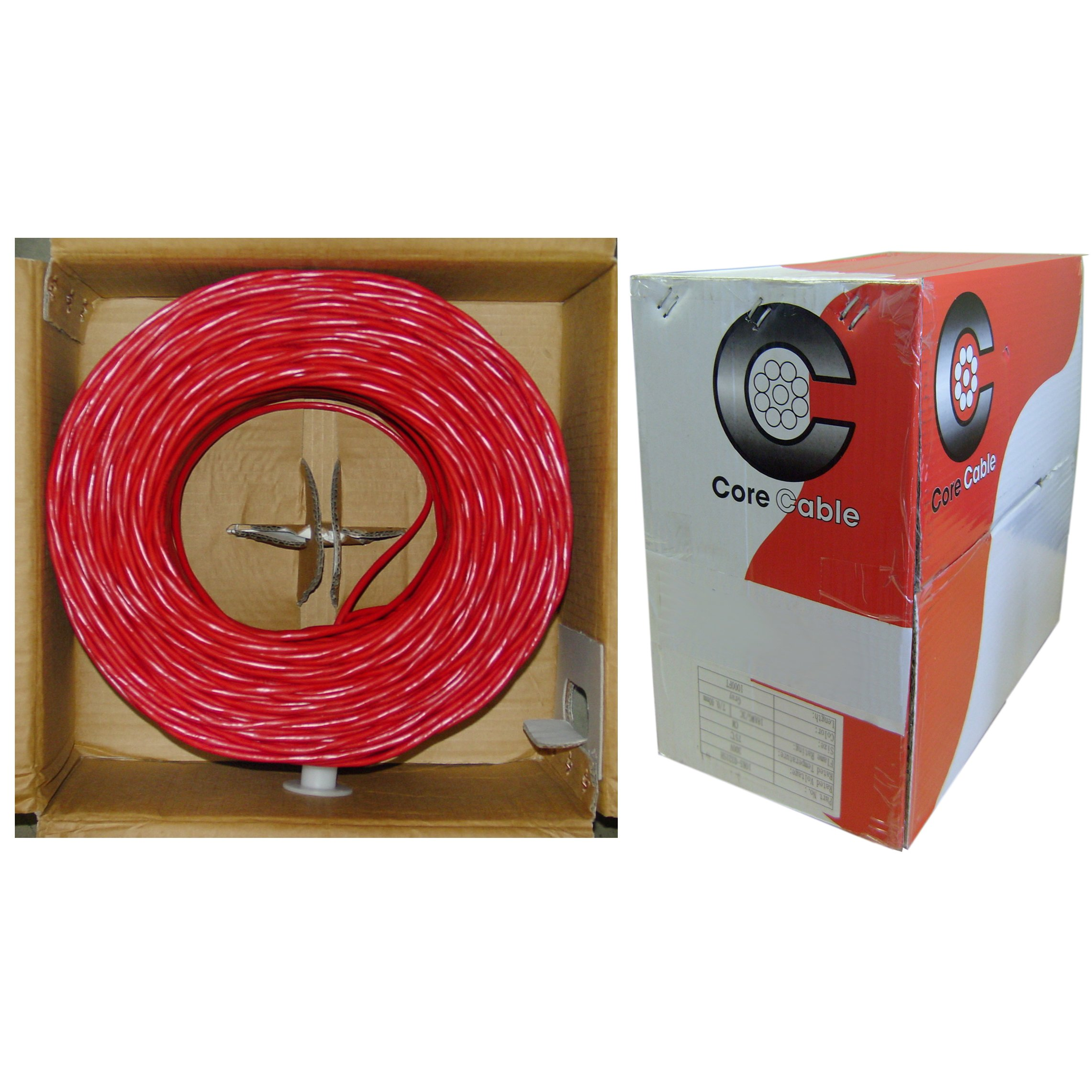 GadKo Shielded Plenum Fire Alarm / Security Cable, Red, 18/2 (18 AWG 2 Conductor), Solid, FPLP, Pullbox, 1000 foot