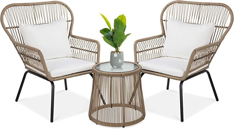 Amazon Com Best Choice Products 3 Piece Outdoor All Weather Wicker Conversation Bistro Furniture Set W 2 Chairs And Glass Top Side Table Tan Garden Outdoor