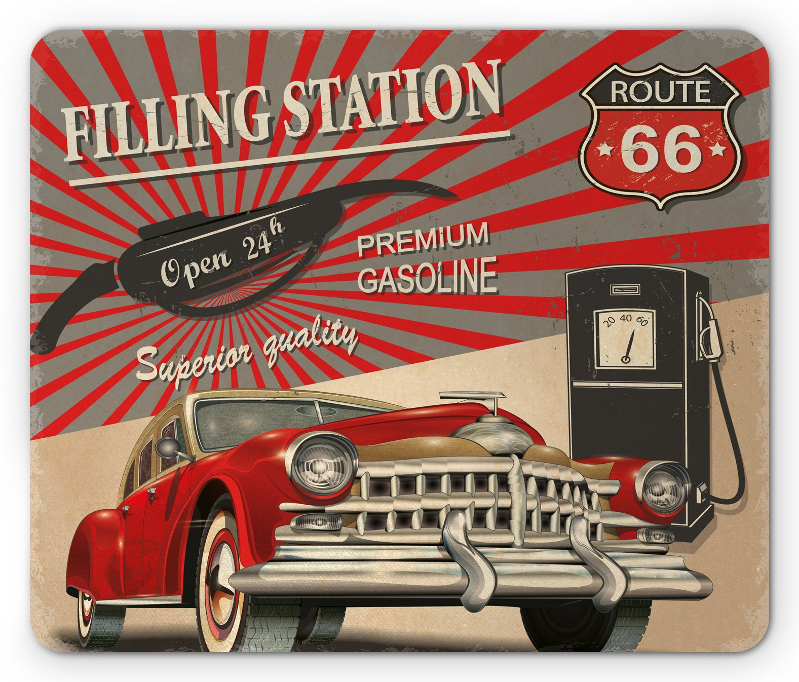 Ambesonne Cars Mouse Pad, Poster Style Image Gasoline Station Commercial Kitschy Element Route 66 Print, Standard Size Rectangle Non-Slip Rubber Mousepad, Vermilion Beige
