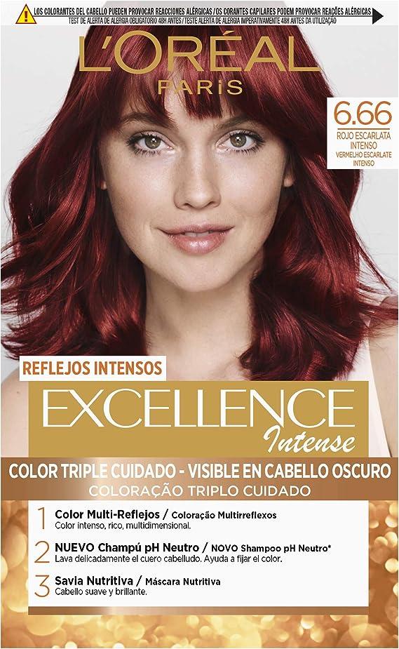 LOréal Paris Excellence Intense Coloración, Tono: 6,66 Rojo ...