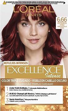 LOréal Paris Excellence Intense Coloración, Tono: 6,66 Rojo Escarlata Intenso