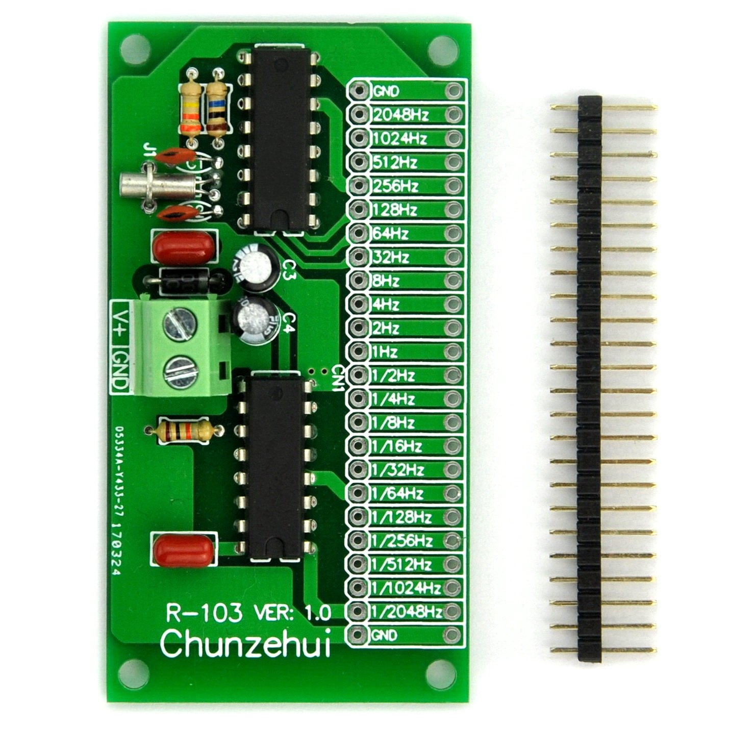 Chunzehui 2048Hz ~ 1/2048Hz Extremely / Super Low Frequency Square Wave Oscillator Module, Square Wave Signal Generator. Total 22 output ports, at the same time can output 22 frequencies.