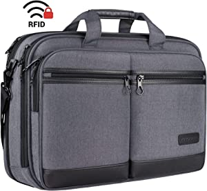 "KROSER 18"" Laptop Bag Stylish Laptop Briefcase Fits Up to 17.3 Inch Laptop Expandable Water-Repellent Shoulder Messenger Computer Bag with RFID Pocket for Travel/Business/School/College/Men/Women-Grey"
