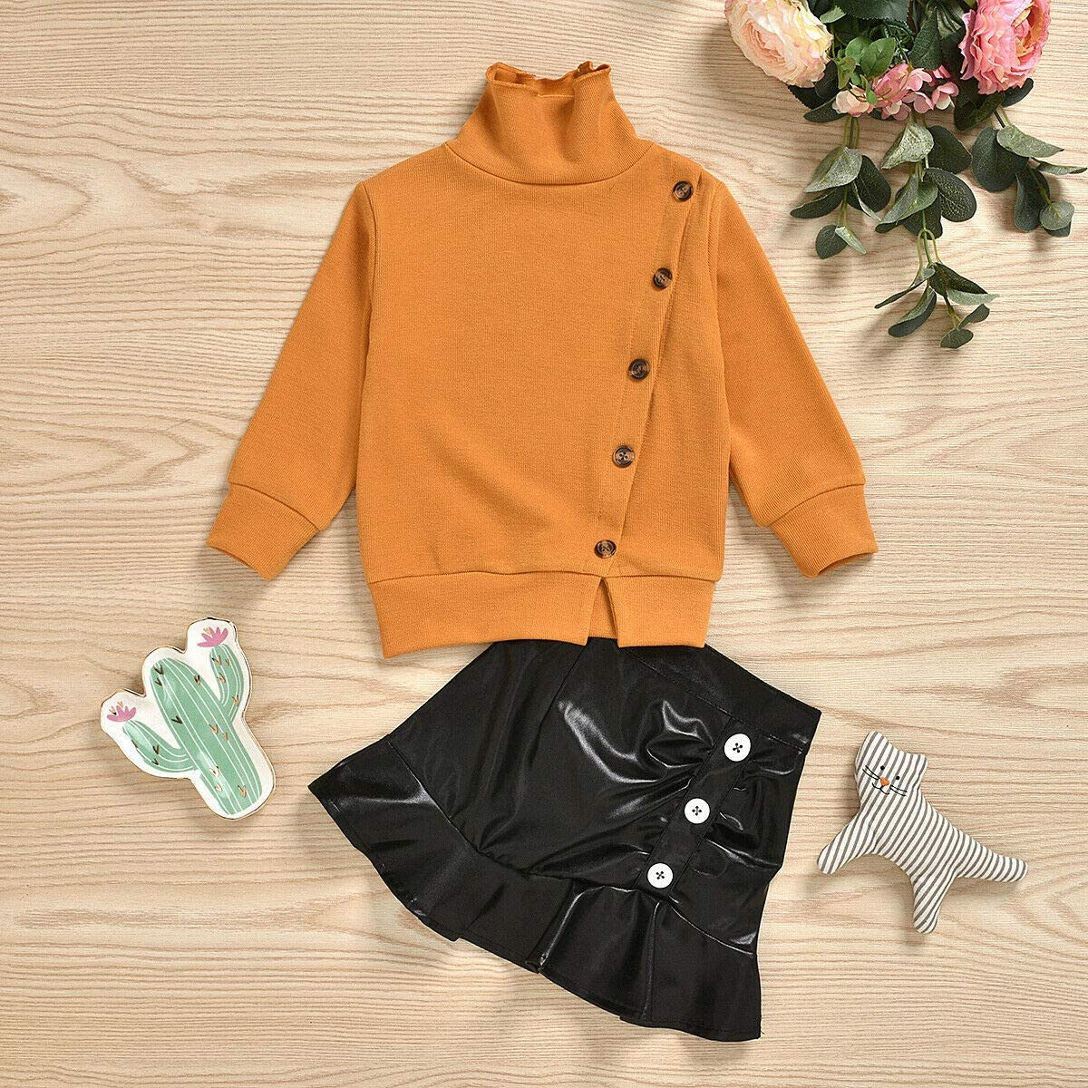 2PCS Toddler Kids Baby Girl Long Sleeve Sweater Tops Mini PU Leather Skirt Set Dresses Outfits Fall Clothes