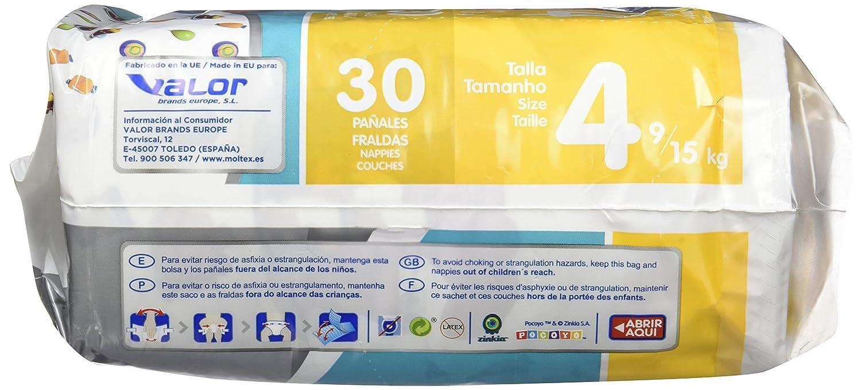 Moltex Premium Bolsa de Pañales, Talla 4, 9/15 kg - 30 Pañales: Amazon.es: Salud y cuidado personal