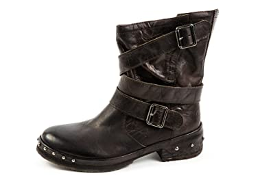 Felmini Damen Cowboy Biker Boots Braun Lila
