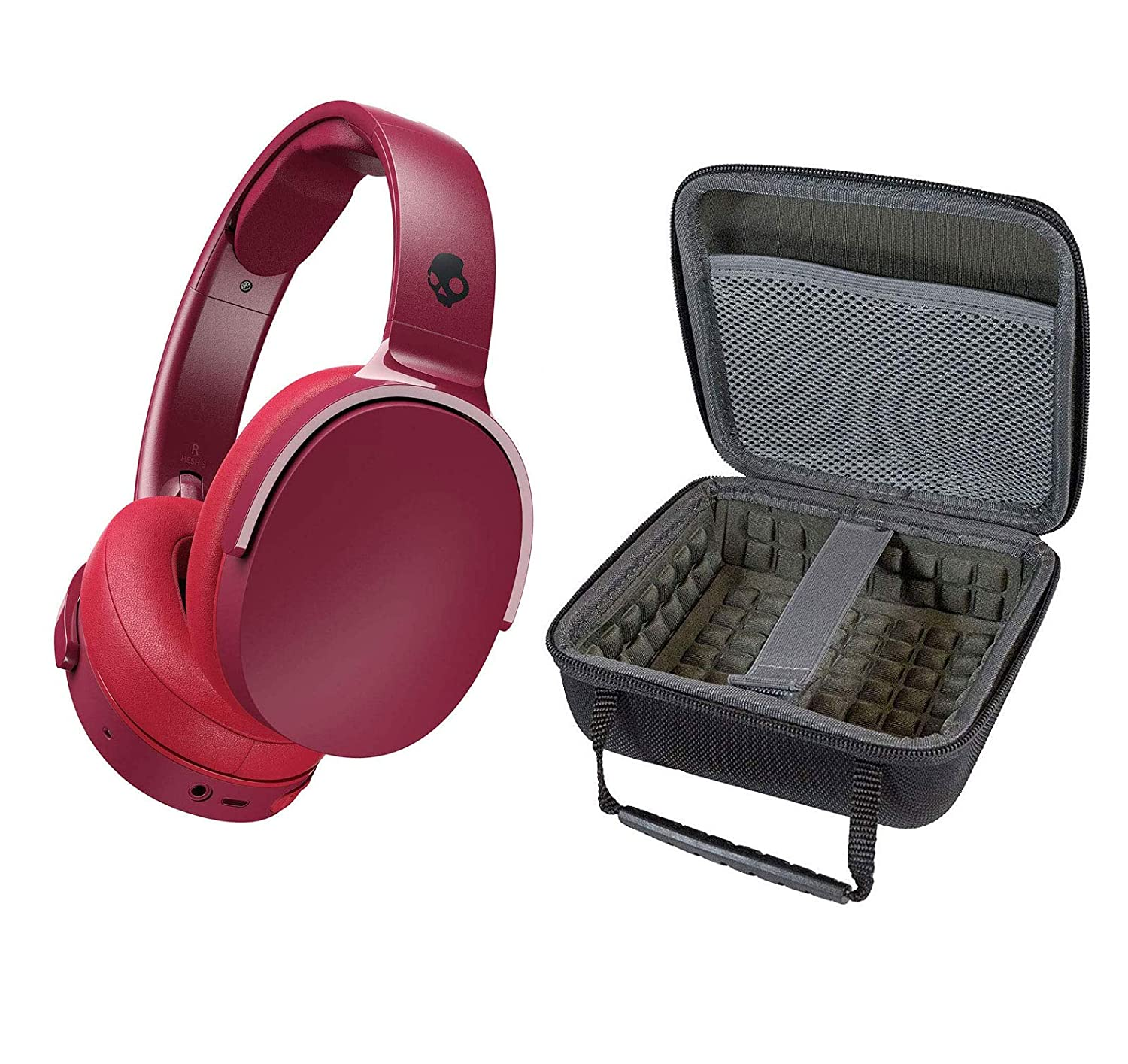 Skullcandy HESH 3 Noise Canceling Over-Ear Wireless Bluetooth Headphone Bundle with Portable Hardshell Case - Moab/Red/Black