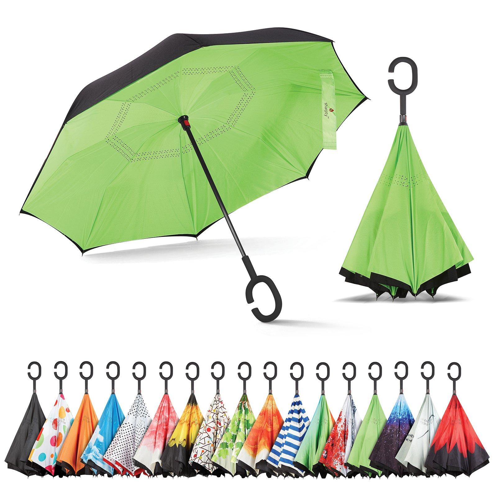 Sharpty Inverted Umbrella, Umbrella Windproof, Reverse Umbrella, Umbrellas for Women with UV Protection, Upside Down Umbrella with C-Shaped Handle (Black-Green)