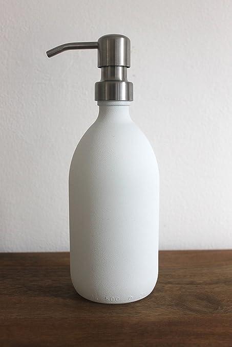Color blanco con textura cristal dispensador de jabón Botella con bomba de acero inoxidable por kuishi