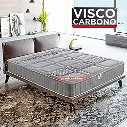 PIKOLIN, Colchón viscoelástico carbono de gama alta, 135x190, máxima calidad y confort, firmeza media, Altura 26 cm. Modelo Troya