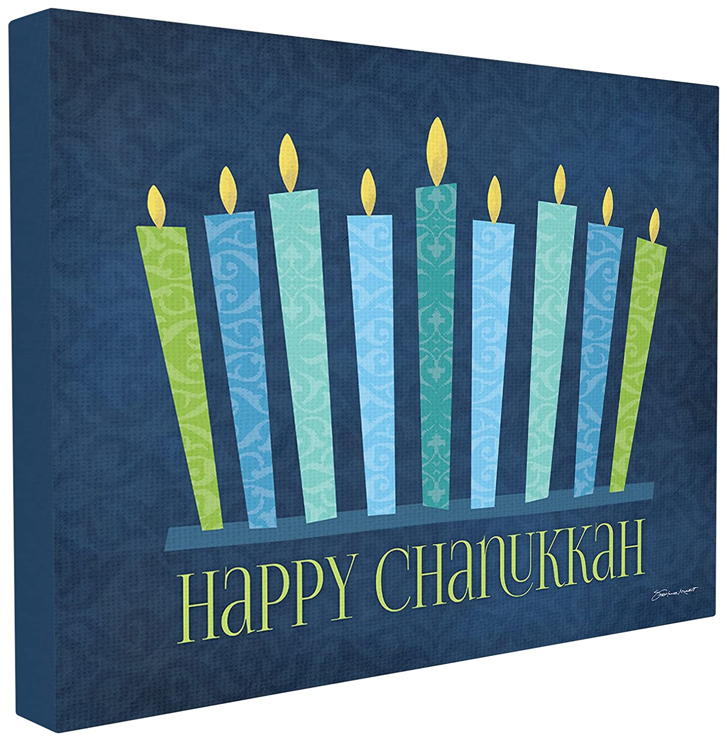 Stupell Home Décor Happy Chanukkah With Menorah Stretched Canvas Wall Art, 16 x 1.5 x 20, Proudly Made in USA Stupell Home Décor Collection hwp-118_cn_16x20