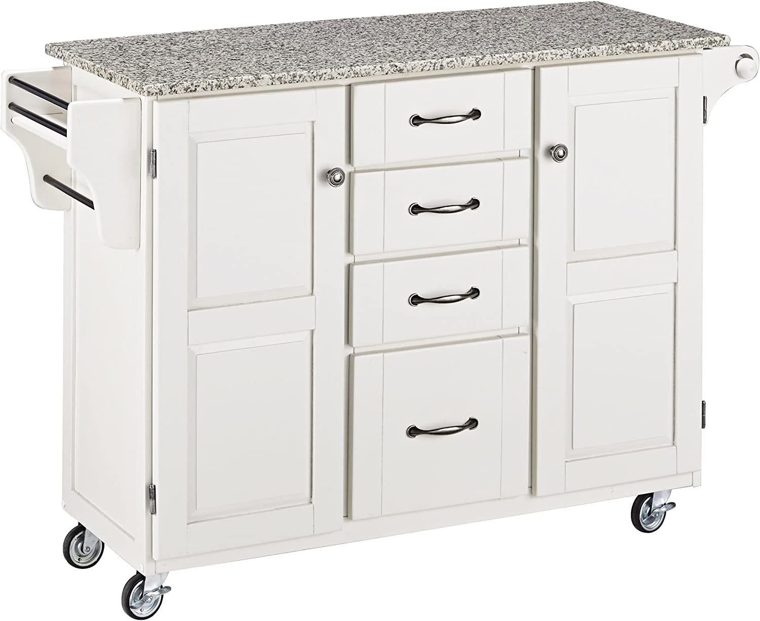 Create-a-Cart White 2 Door Cabinet Kitchen Cart with Salt and Pepper Granite Top by Home Styles
