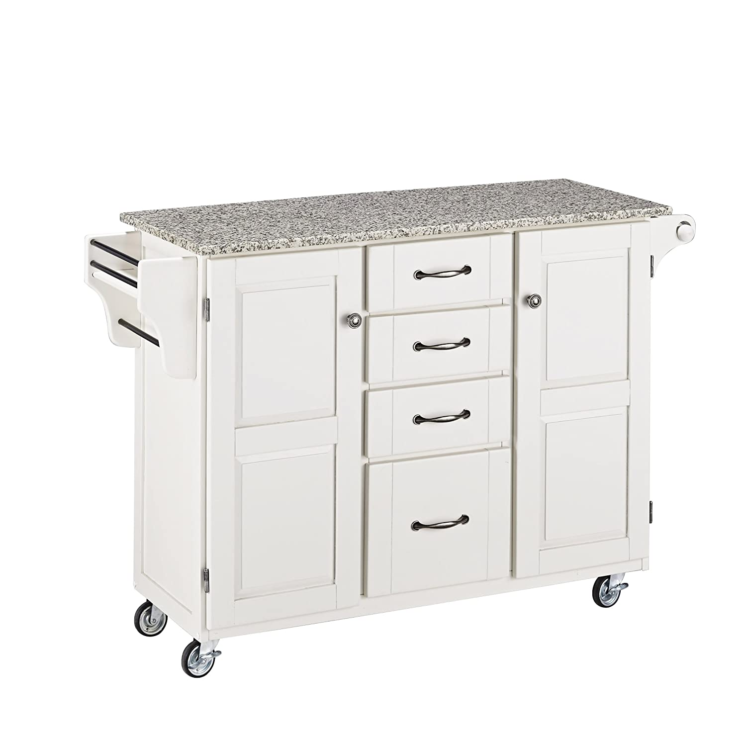 Home Styles 9100-1023 Create-a-Cart 9100 Series Cuisine Cart with Salt and Pepper Granite Top - White - 52-1-2-Inch