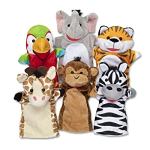 "Melissa & Doug Safari Buddies Hand Puppets Puppet (Set 6), 12"" H x 2.75"" W x 16"" L, Multicolor 9118"