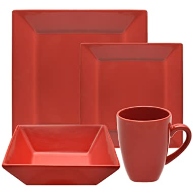 10 Strawberry Street Square 16 Piece Dinnerware Set, Red