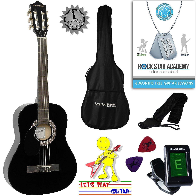 Guitarra acústica de mano izquierda, paquete de 3/4 de tamaño (36 pulgadas), cuerda de nailon clásica para niños, color negro Stretton Payne SP34LH