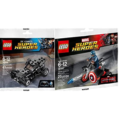 Lego Super Heroes Batman Batmobile (30446) + Captain America Motorcycle & Mini Figure (30447) DC Comics & Marvel: Toys & Games