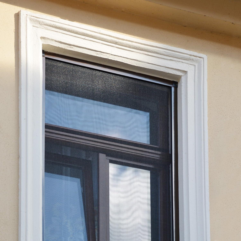 130 x 150 cm antracita JAROLIFT Profi Line Mosquitera con marco de aluminio para ventana Montaje sin perforaci/ón