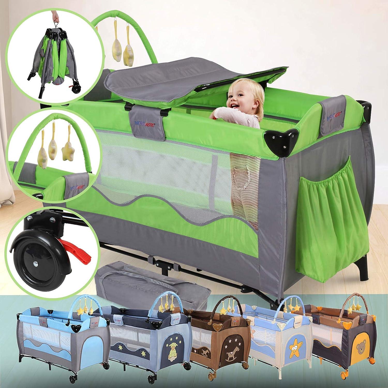 Cuna de Viaje Plegable - para Bebés de 0 a 3 años, Altura Regulable, con Cambiador, Bolsa Transporte, Ruedas, Arco de Juego, 126x66x82cm, Color a Elegir - Cuna Portátil para Bebé
