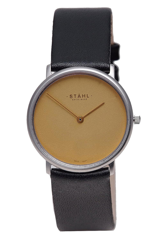 Stahl Swiss Made Armbanduhr Modell: st61330 – Edelstahl – mittlere 30 mm Fall – Uni gold Zifferblatt