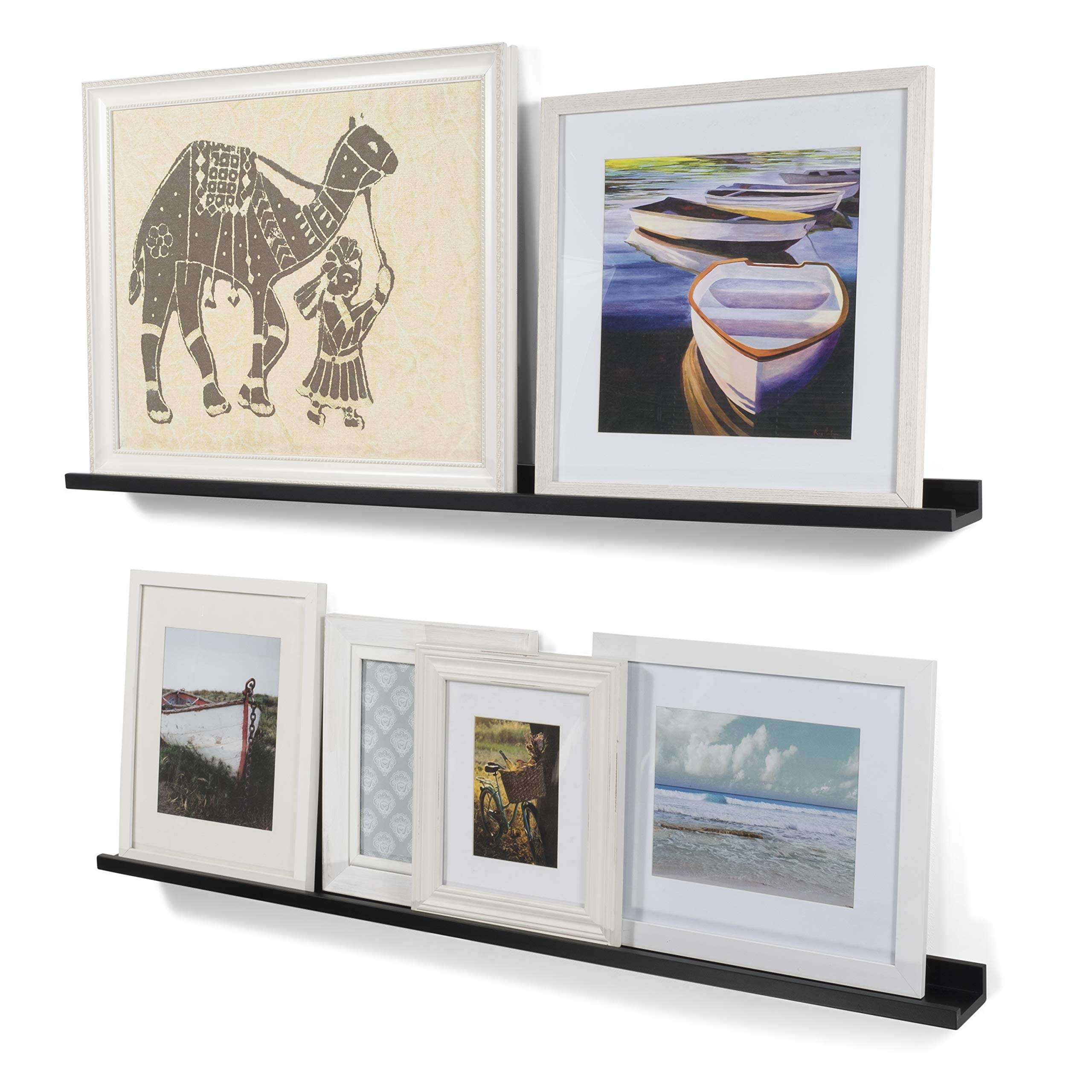Wallniture Modern Floating Wall Ledge Shelf for Pictures and Frames Black 46 Inch Set of 2 by Wallniture
