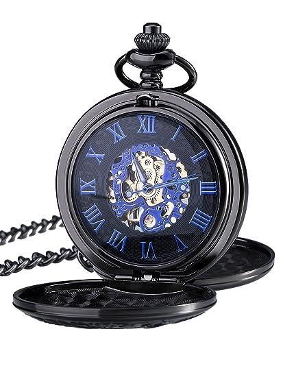 Reloj de Bolsillo Mecánico de Números Romanos Azules con Cadena y Doble Abierto: Amazon.es: Relojes