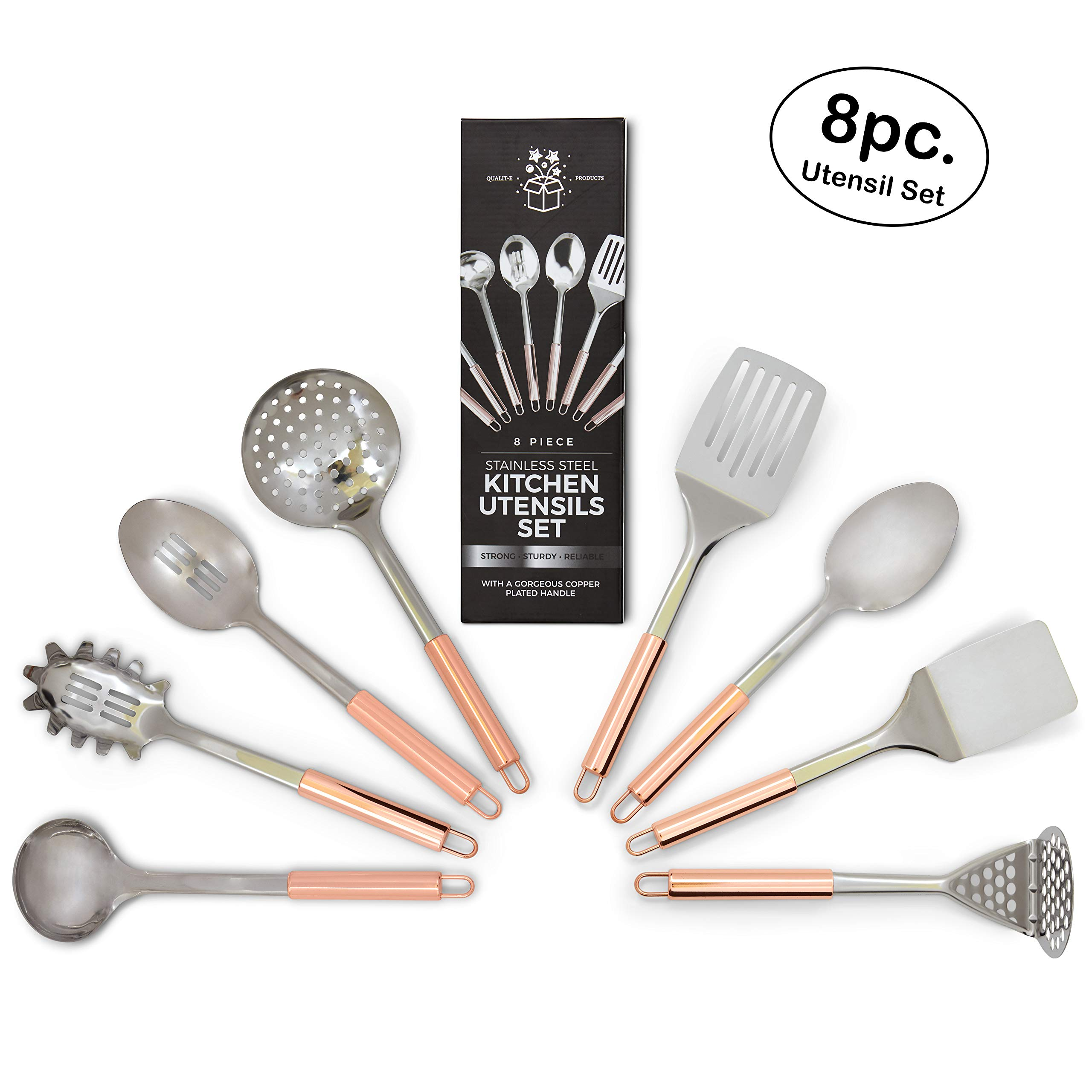 Stainless Steel Kitchen Utensil Set - Home Cooking/Spatula/Spoon/Tools/Utensils - Metal/Copper Kitchenware - Kitchen Set - Cooking Utensil - Cookware Essentials - 8 Piece Cooking Sets - Steel Utensils by Qualit-E Products