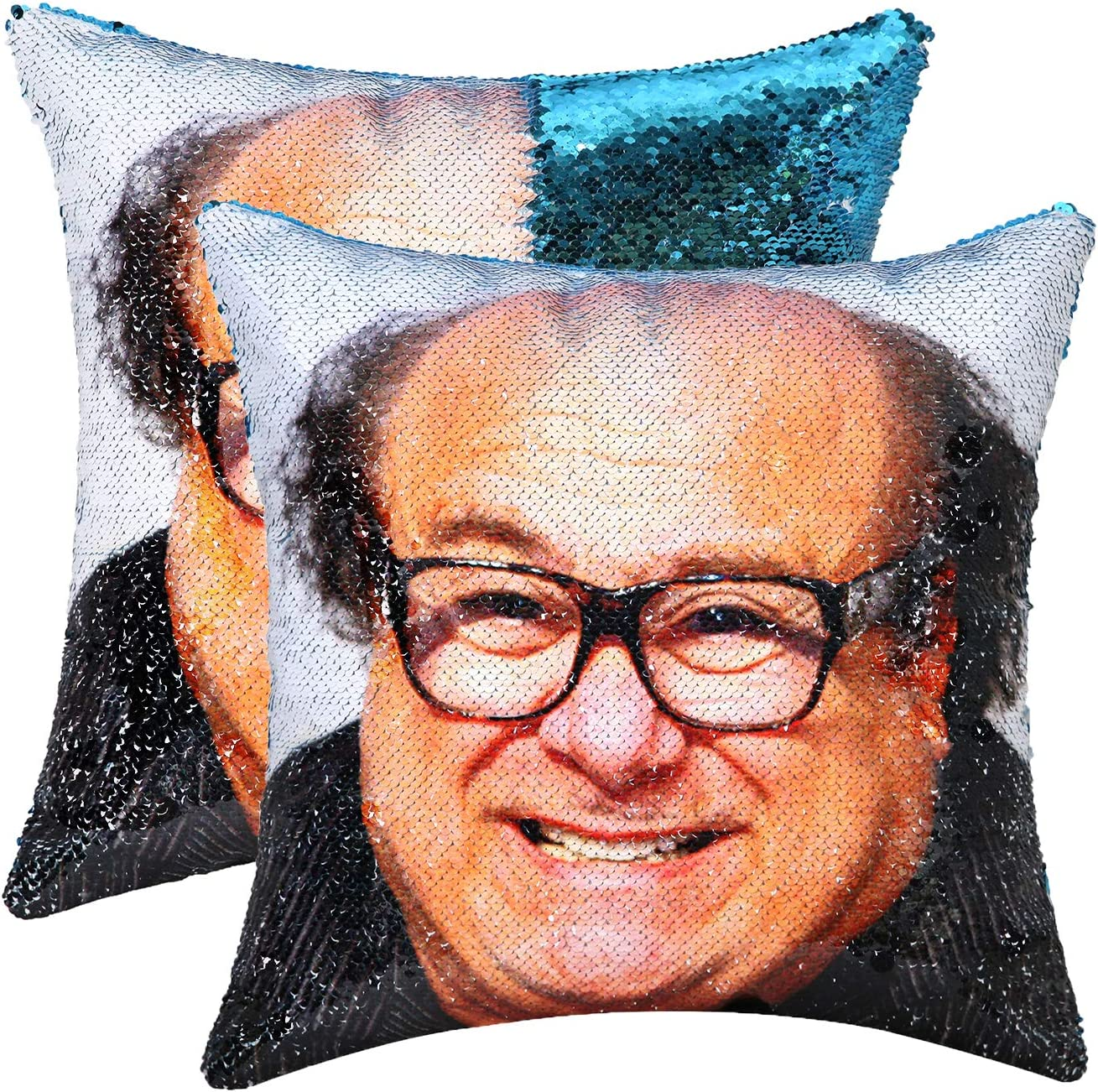 cygnus Sequin Mermaid Pillow Cover It's Always Sunny in Philadelphia Danny Devito Face Funny Reversible Magic Throw Pillow Case That Color Changes 16x16 (Blue)