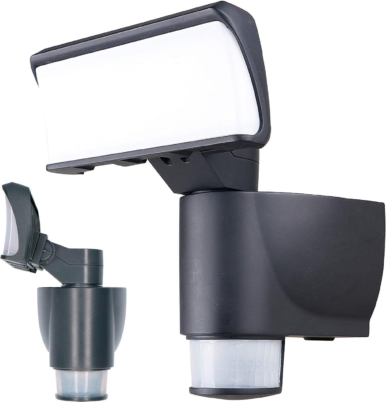 proventa® Foco LED con autoseguimiento. Encendido automático. Sensor de luz diurna. Radio de giro 180°. Detector de movimiento 270°. Luz blanca neutra 4.000 K, 18 W, 1.100 lm, IP44. Color antracita