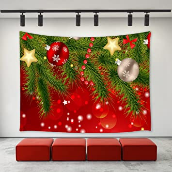 LBKT Christmas Day Tapestry Wall Hanging Custom Xmas Tree Ornaments Balls Snowflakes Red Pattern Tapestries