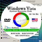 WINDOWS VISTA - 32 Bit & 64 Bit DVD SP1, Supports All Versions. Starter, Home Basic, Home Premium, Business, and Enterprise edition. Recover, Repair, Restore or Re-install Windows to Factory Fresh!