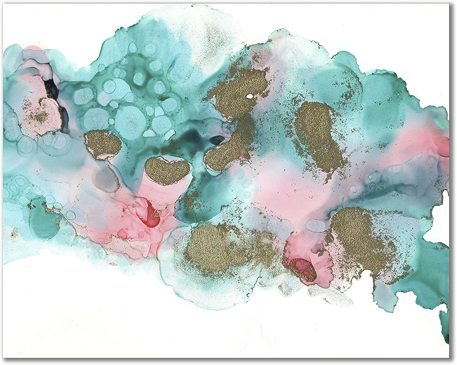 11x14 Poster Print Unframed - Aesthetic Boho Decor Abstract Teal, Turquoise and Pink Wall Art Print