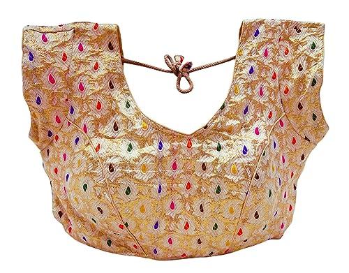 Readymade Diseñador Cosido Almohadillado Saree Blusa Nuevo Colección Indio Tradicional Mujeres Recorte Cima