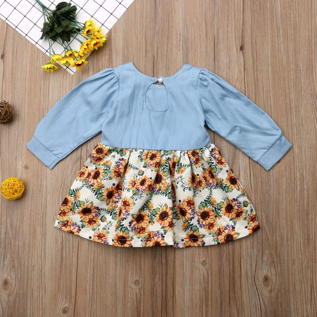 Baby Girls Half Sleeve Denim Splice Sunflowers Print Dress Princess Blouses