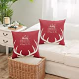 Merry Christmas Series Throw Pillow Sham Cushion Cover 18x18 Reindeer Deer Antler Throw Pillowcase Decorative Pillowcase for Sofa Couch Bed Square - (Set of 2) Zippered, Red